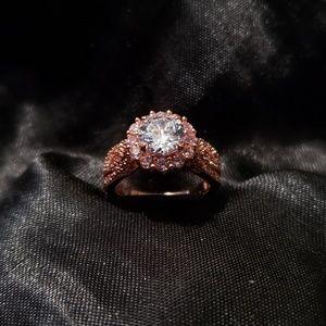 White/blue sapphire and rose quartz Ring
